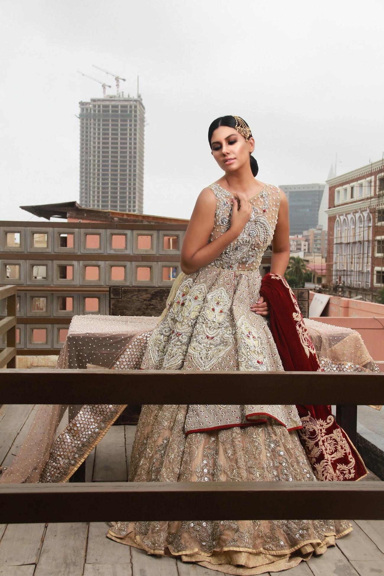 Erum Khan Bridal Odyssey dress with red dupatta