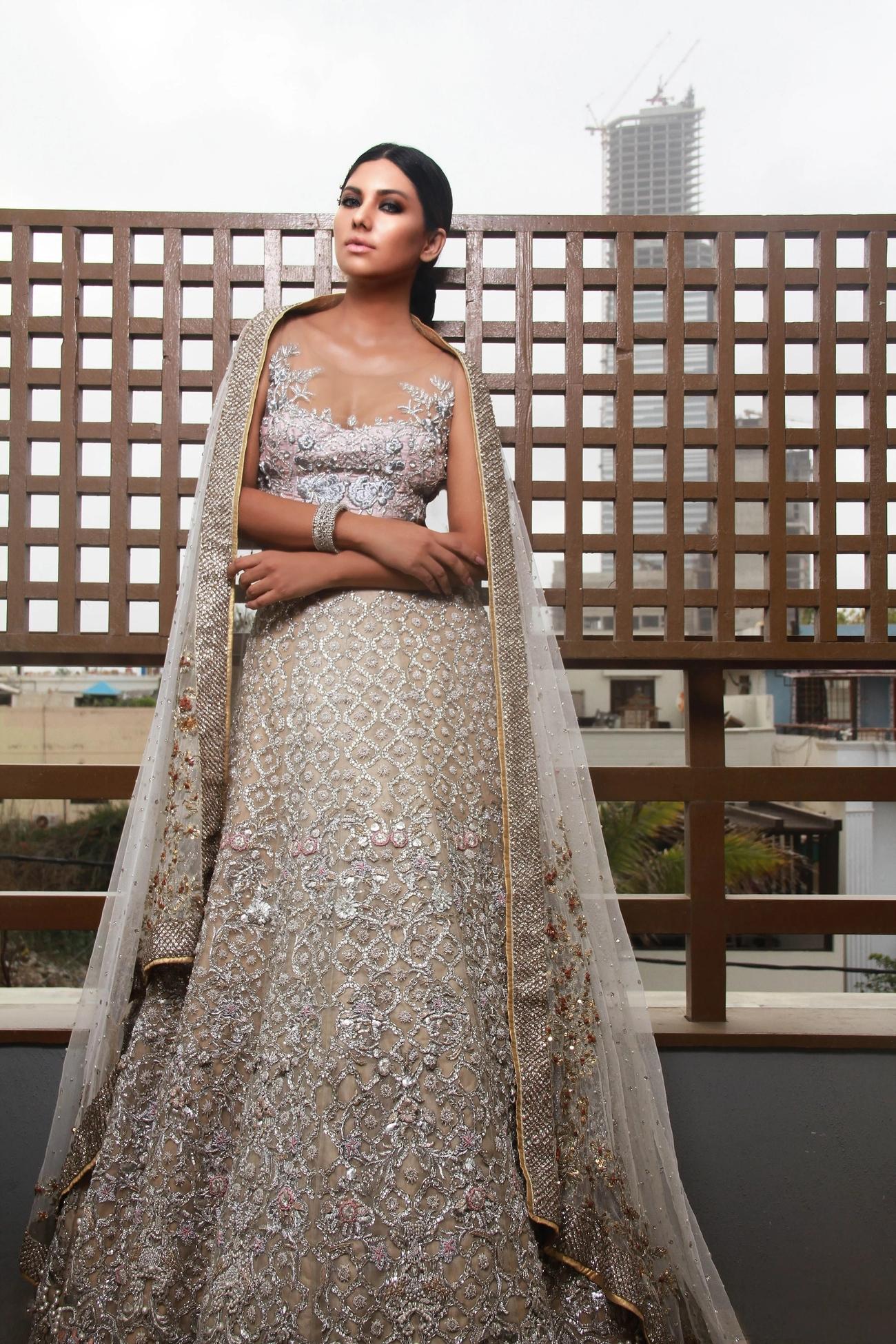 Erum Khan Bridal Odyssey Dress silver color
