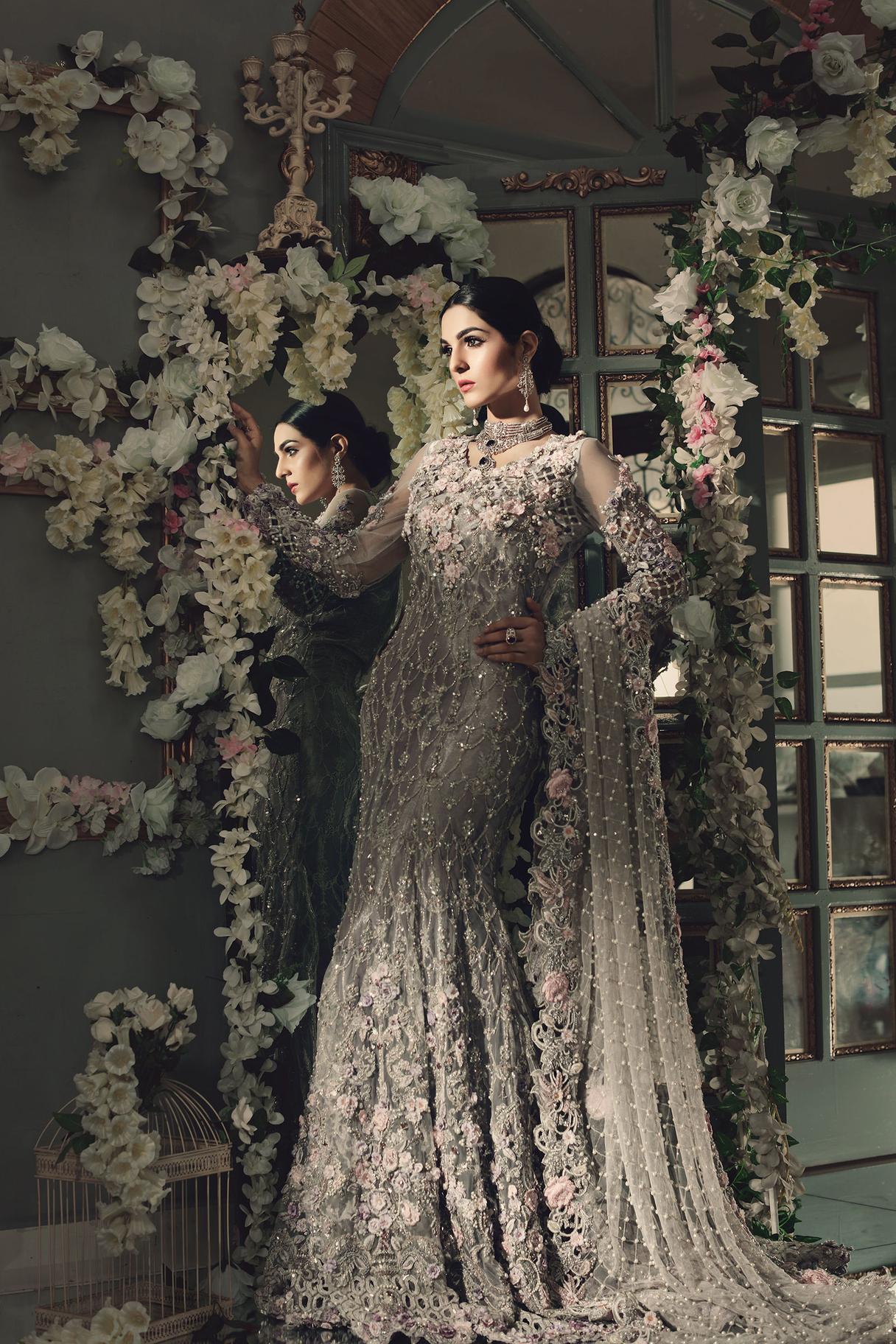 Maria B Bridal Silver color dresses 2021