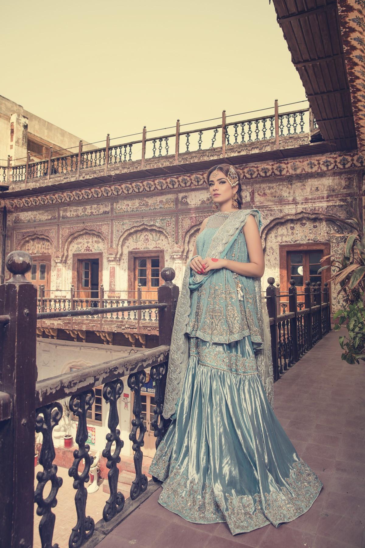 Maria B sky blue bridal dress Fully-front
