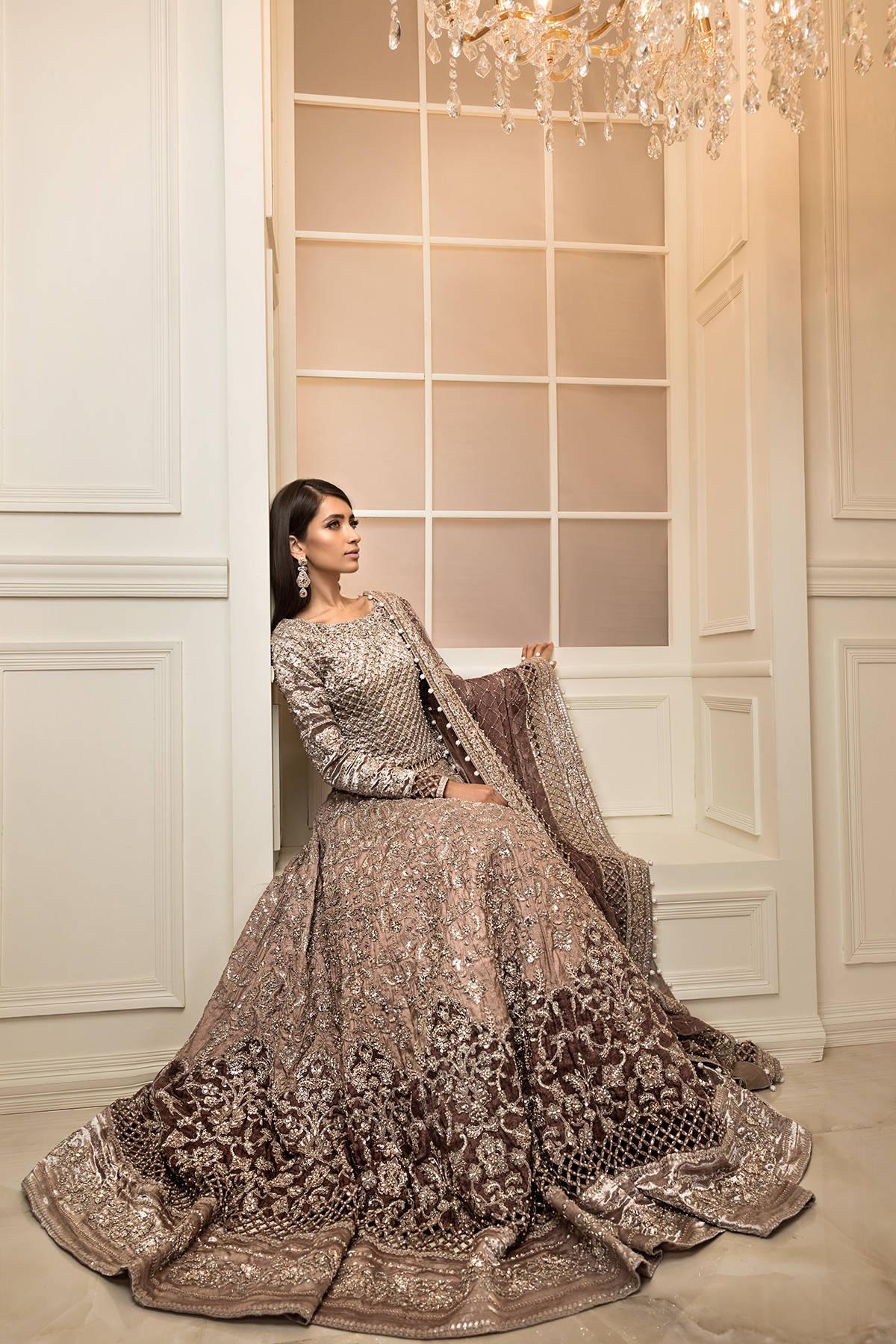 Maria B golden color bridal dress 2021