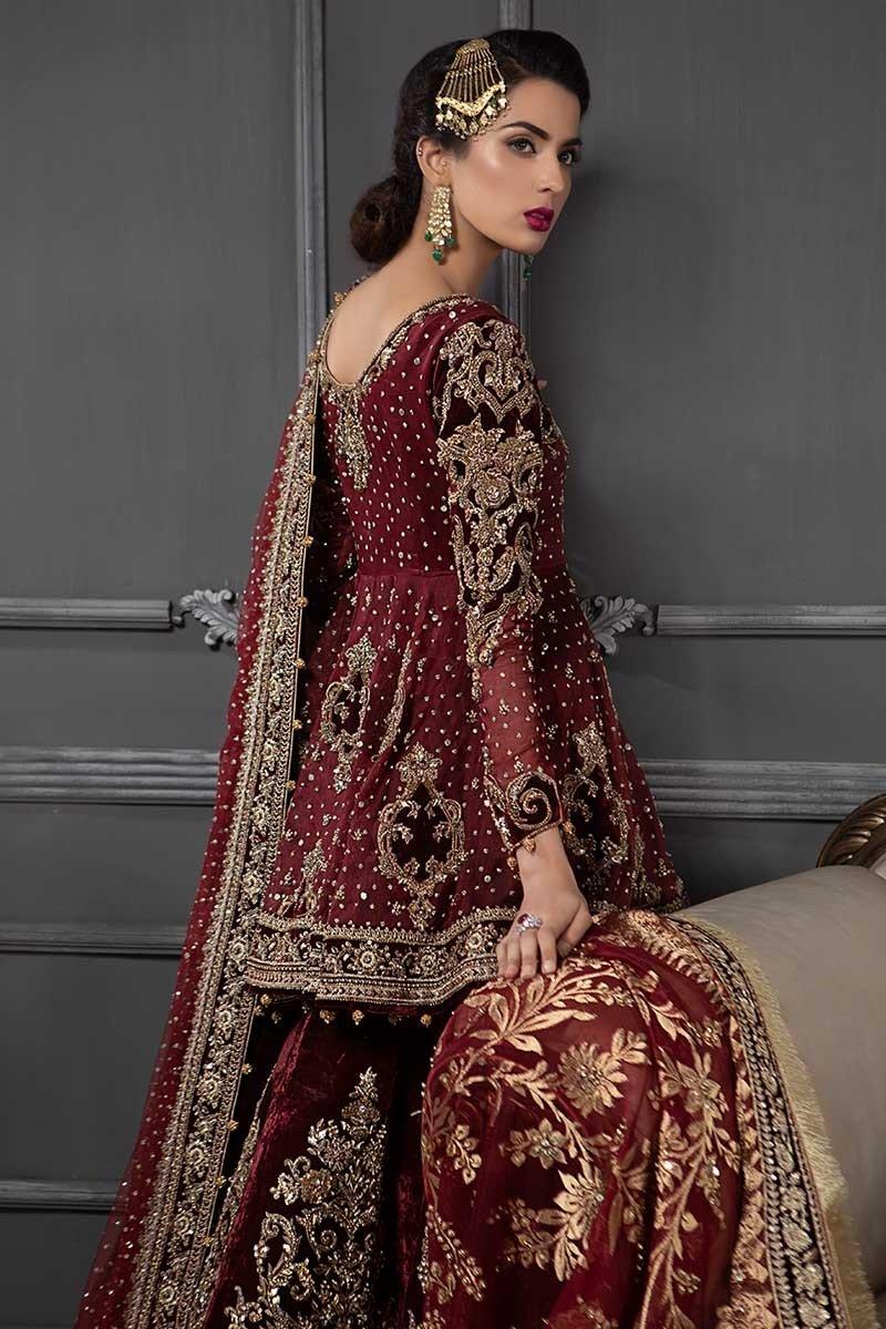 Maria B Red color bridal dresses Back-side