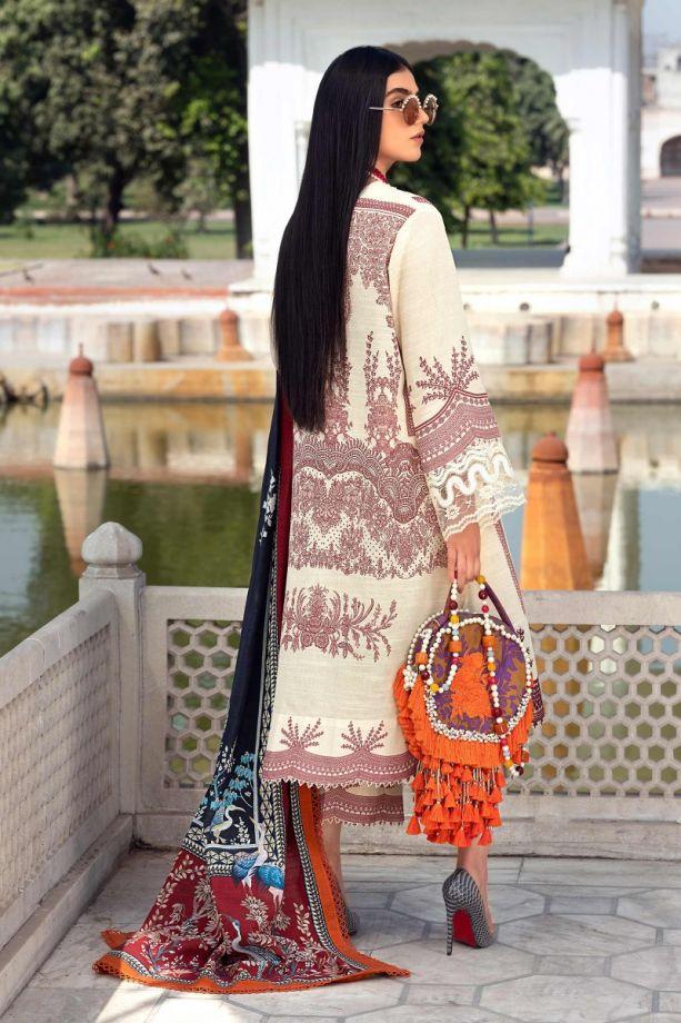 sana Safinaz Winter white sliub color eembroidered dress back-side