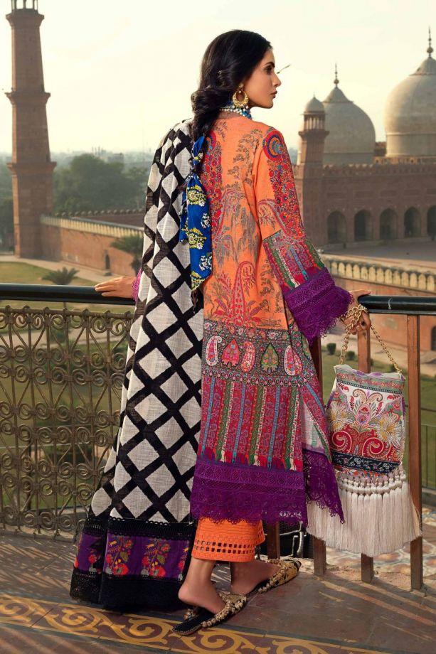 Sana Safinaz Winter Embroidered on organza dress back-side