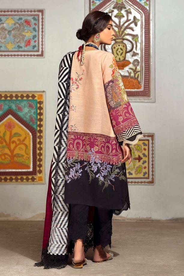 Sana Safinaz Winter red, & black color embroidered dress back-side