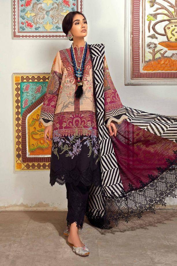Sana Safinaz Winter red, & black color embroidered dress 2021