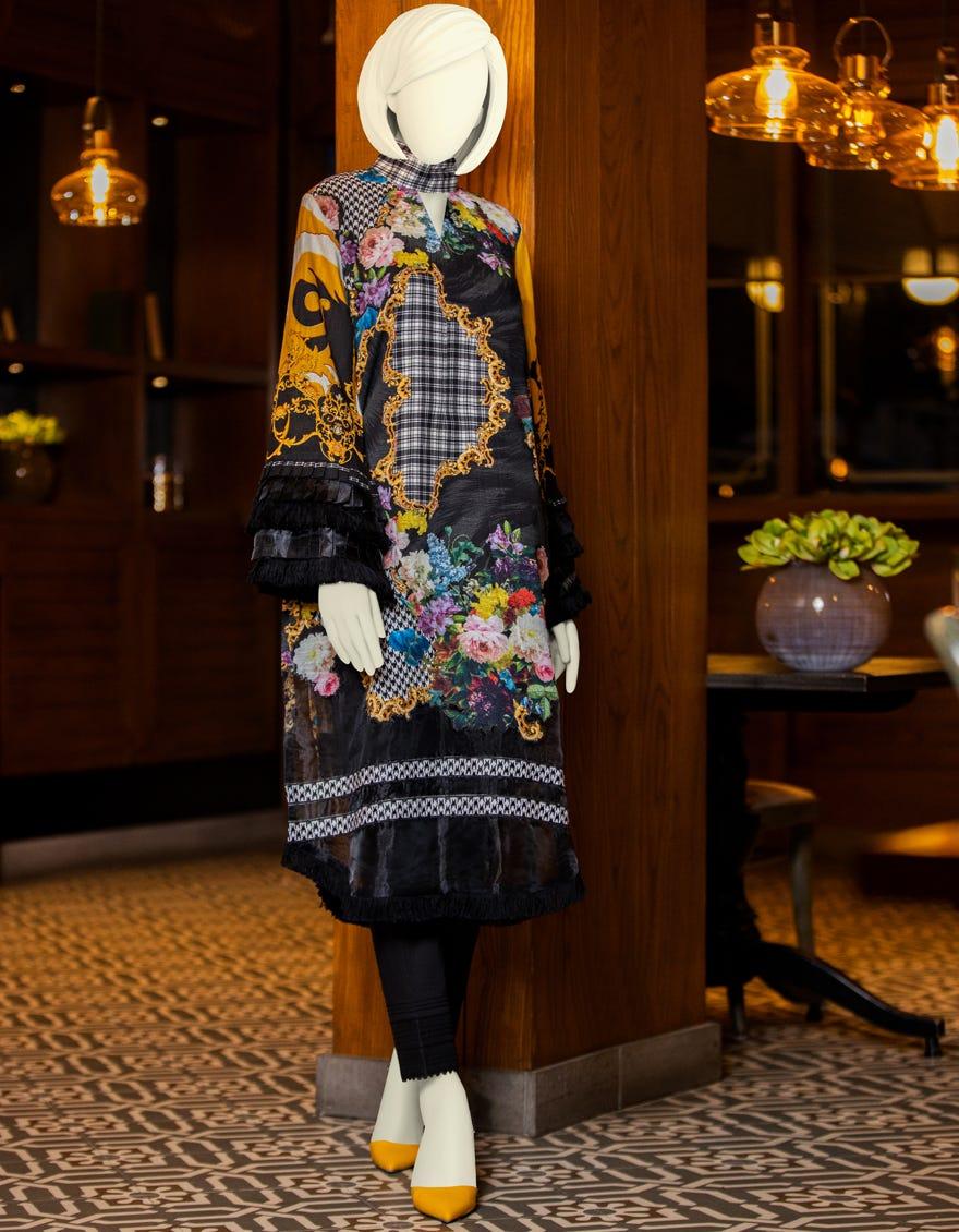 junaid jamshed winter black printed dress