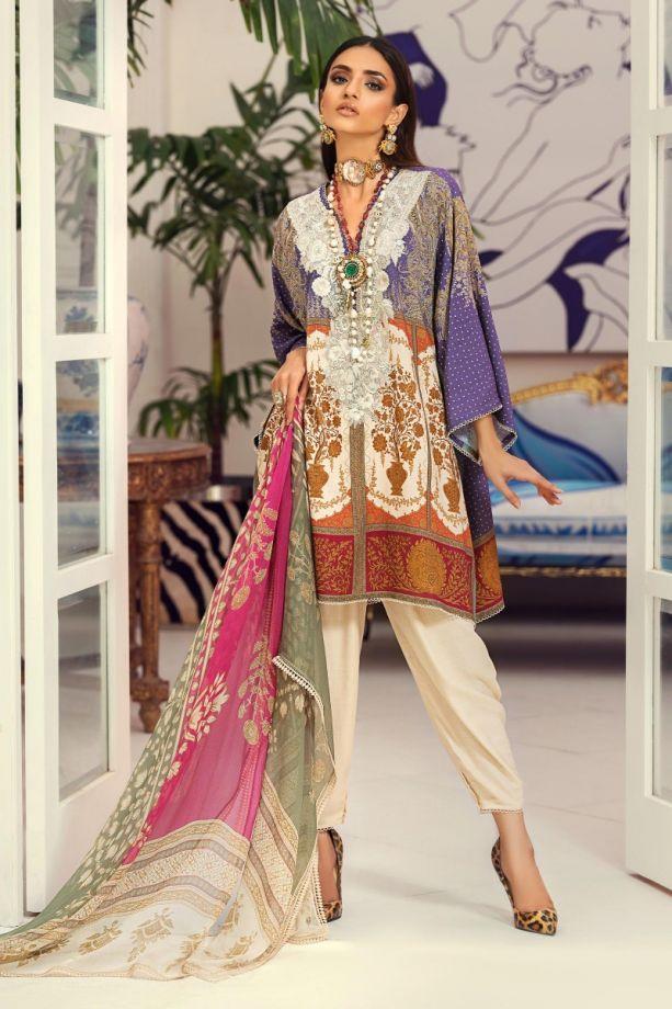 Sana Safinaz Winter Purple/White color dress 2021