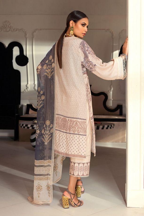 Sana Safinaz Muzlin winter cream color embroidered on net dress back-side
