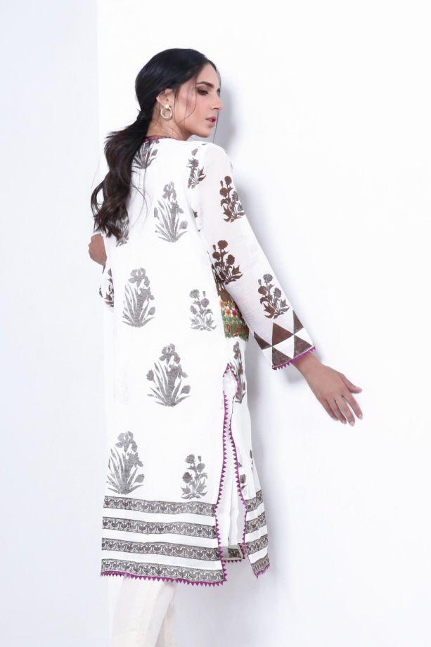 Sana Safinaz muzlin winter white printed dress back-side