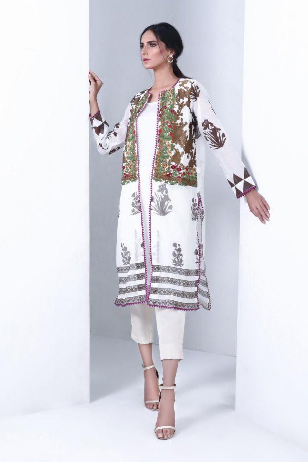 Sana Safinaz muzlin winter white printed dress