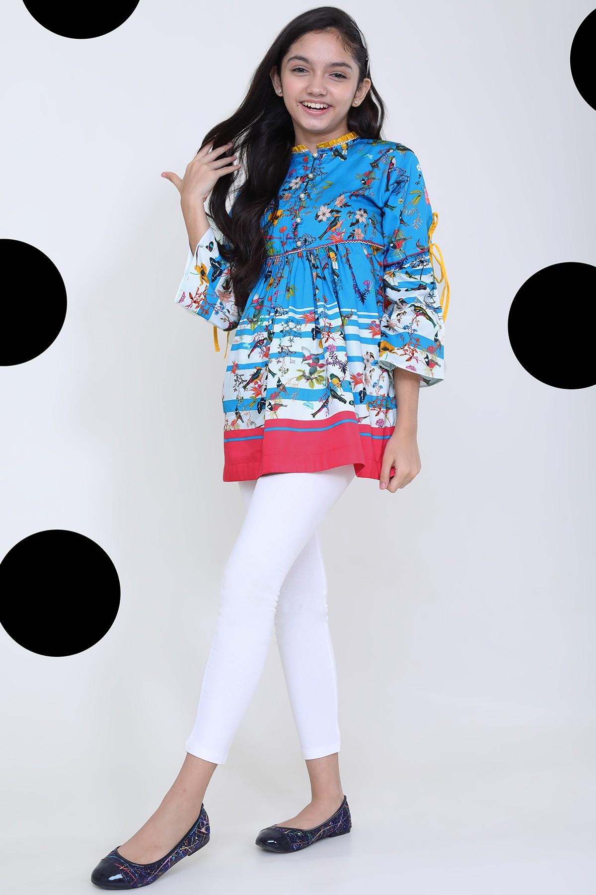 Al-Akaram winter MAK Collection Multi colorPrinted Cotton Satin MAK Girl Kurti