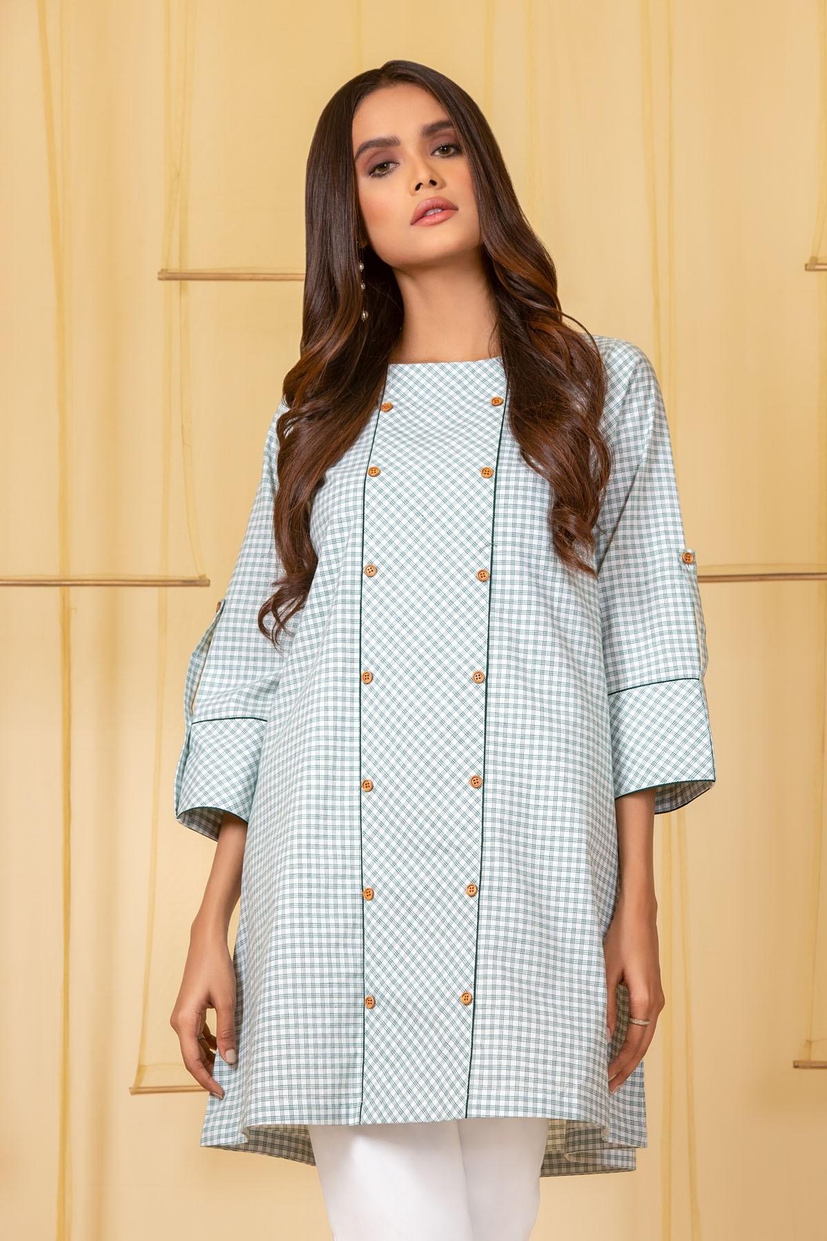 Al-Akaram winter MAK Pret collection off-whitePrinted Cotton Kurti