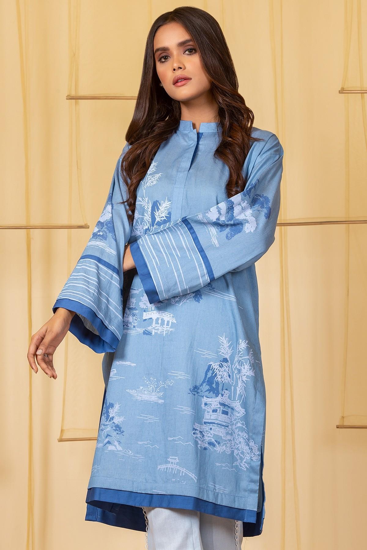 Al-Akaram winter MAK Pret collection Light Blue Yarn Dyed Denim Kurti