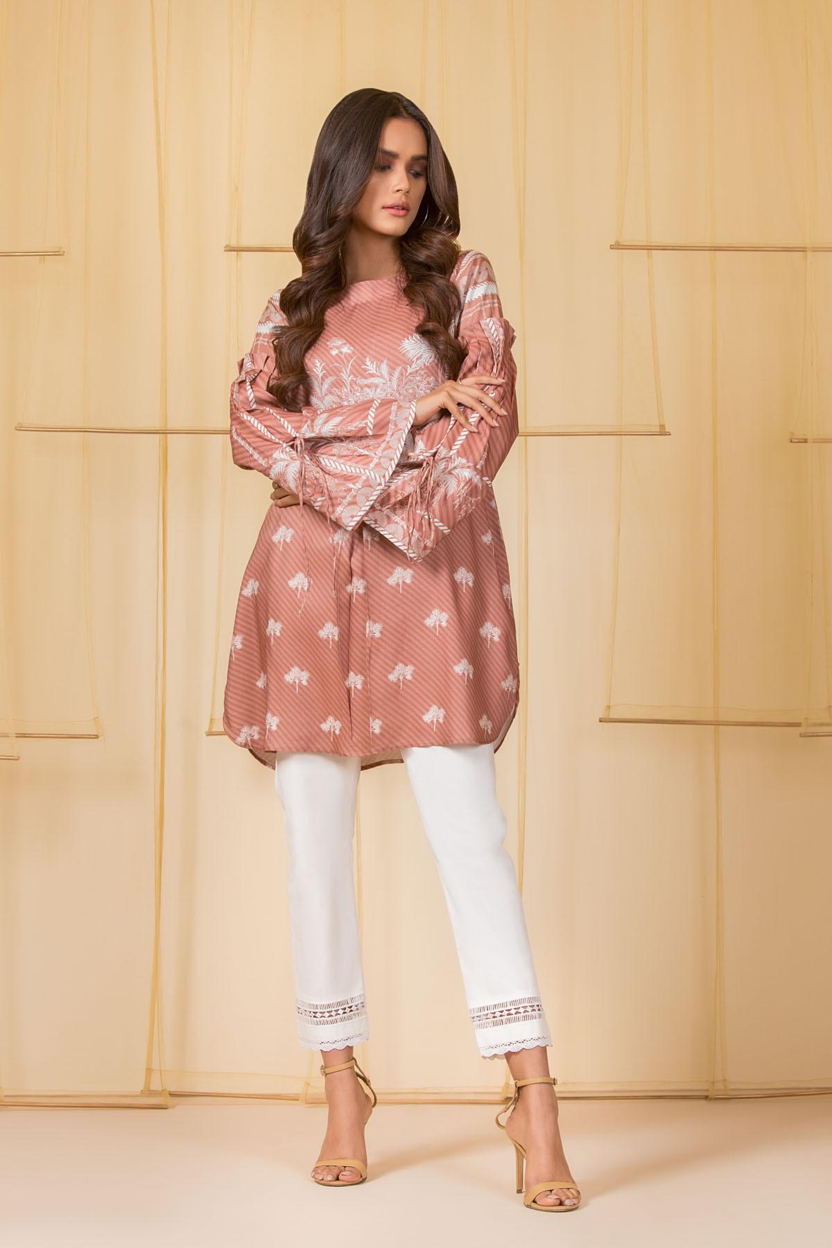 Al-Akaram winter pret collection BrownPrinted Cambric Kurti