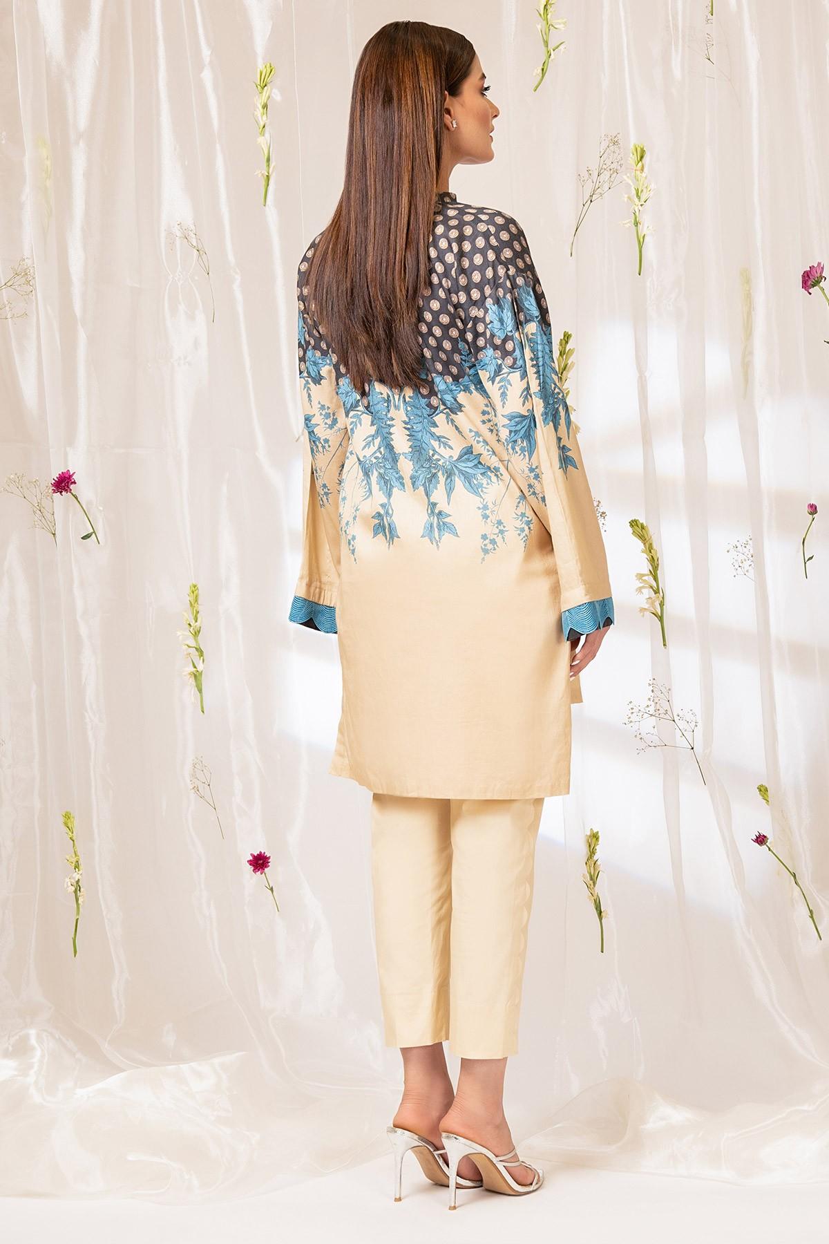 Al-Akaram pret winter collection multi color Printed Cotton Satin Kurti