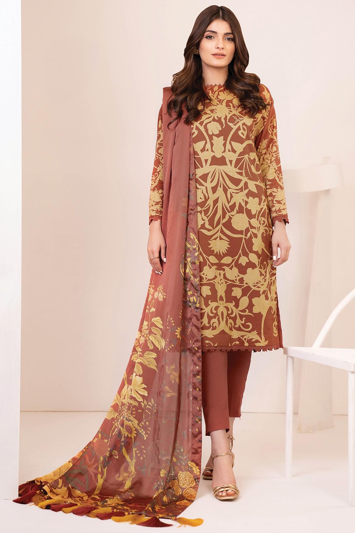 Al-Akaram winter collection Rust color Three Piece Cotton Satin Suit With Digital Silk Dupatta