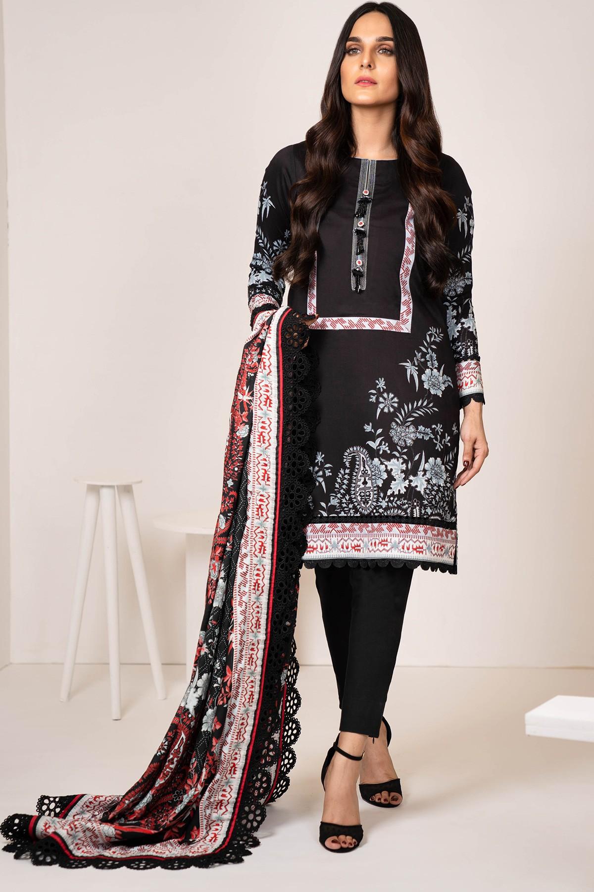 Al-Akaram winter unstitched Black Three Piece Printed Twill Suit With Printed Twill Viscose Dupatta