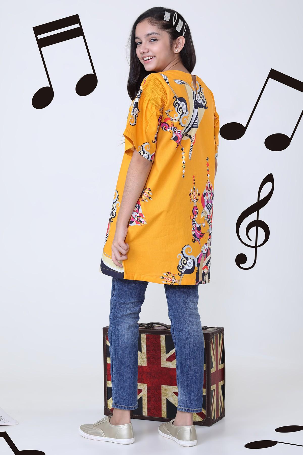 Al-Akaram winter MAK collection Yellow Printed Dobby MAK Girl Kurti