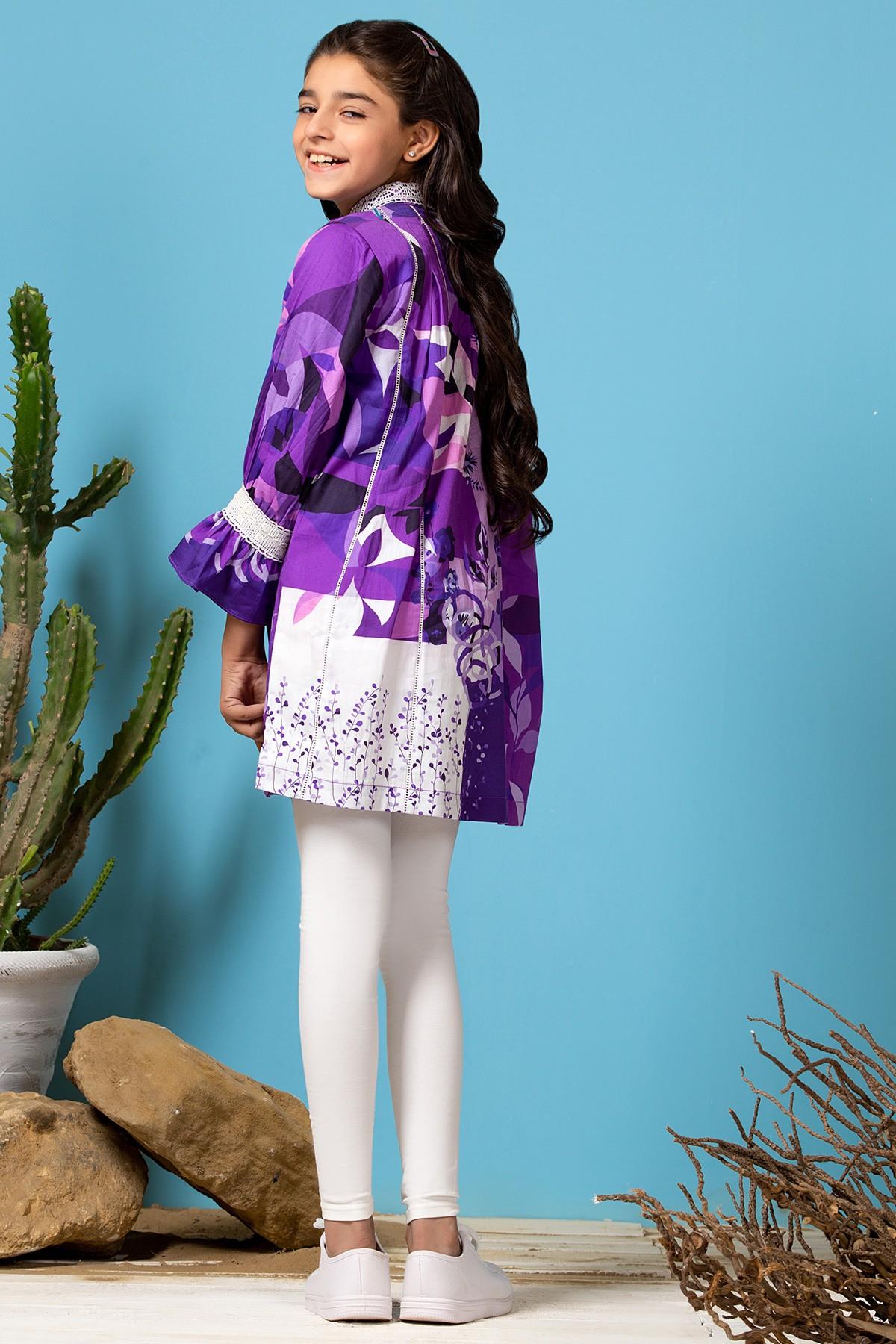 Al-Akram MAK winter collection Purple color Printed Cotton Satin MAK Girl Kurti