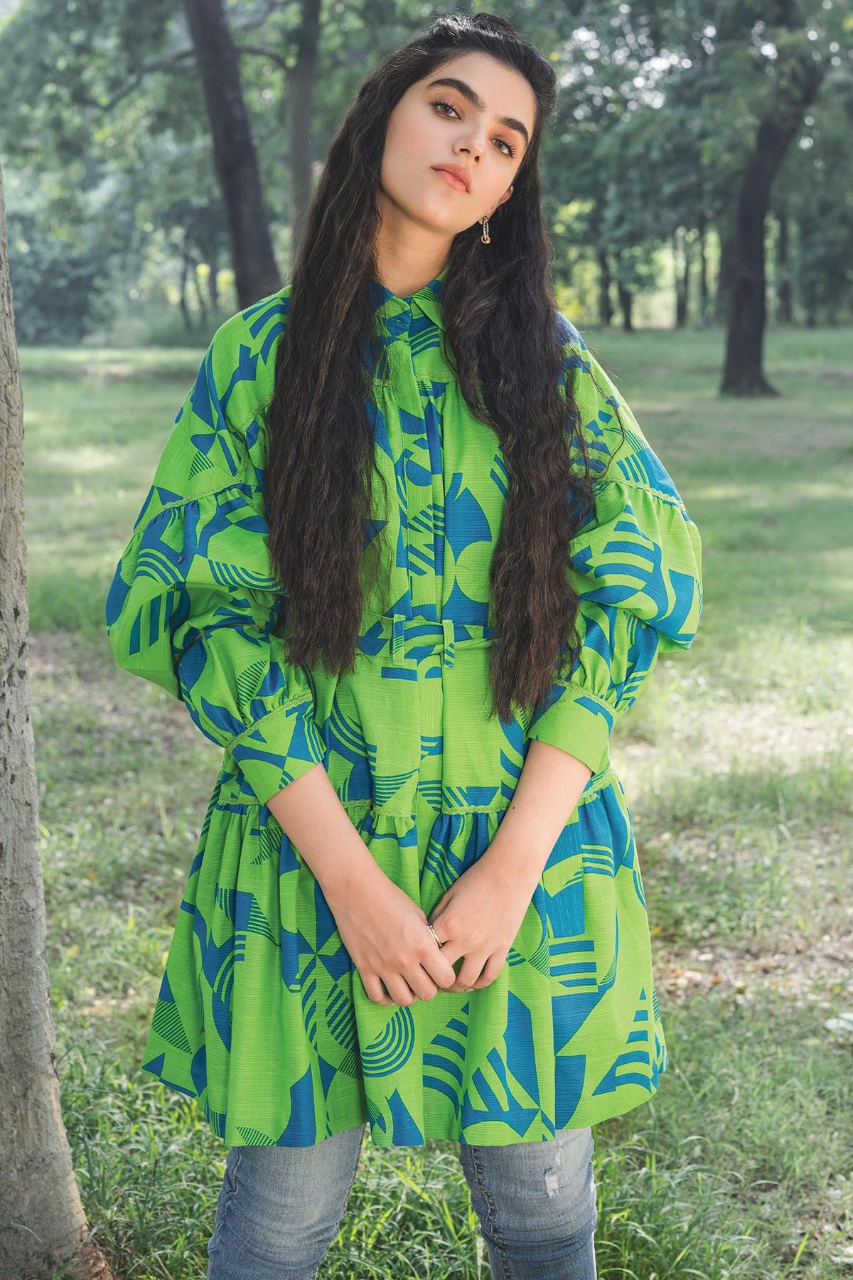 Al-Akaram winter MAK collection Green 1 Piece Printed Khaddar Shirt