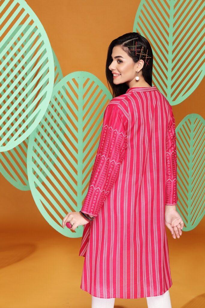Nishat Linen Winter Pink Color embroidered Stitched Karandi Shirt