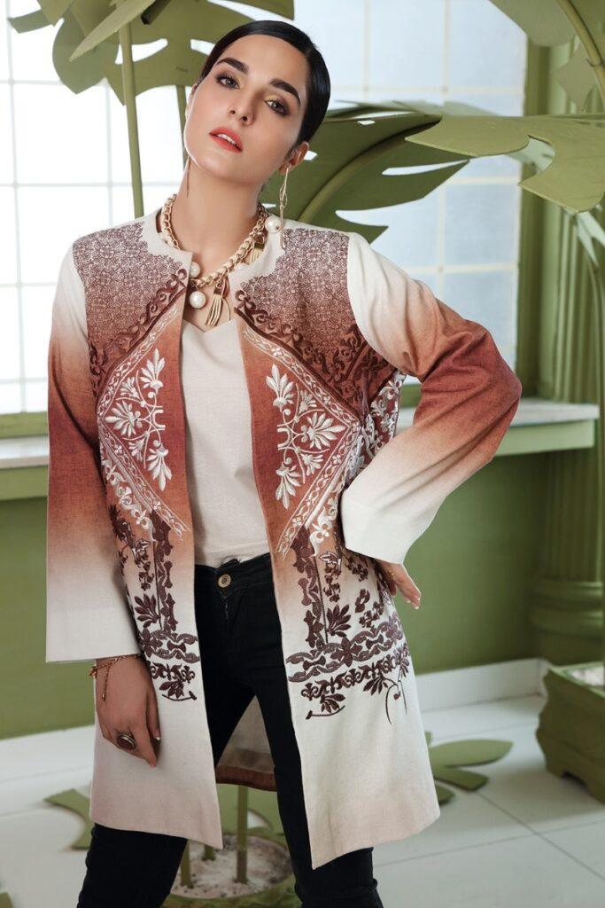 Nishta Linen winter collection Brown Embroidered Stitched Cotton Karandi Jacket
