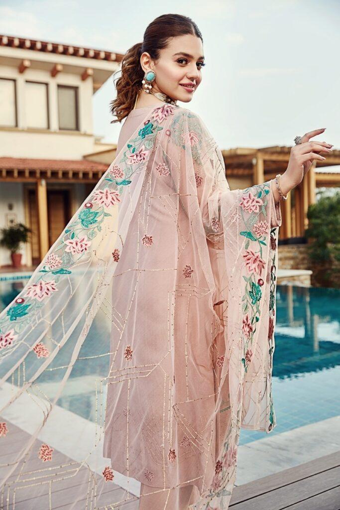 Nishta Linen winter collection Pink Chiffon Line, Silk & Net Embroidered Luxury Ready To Stitch