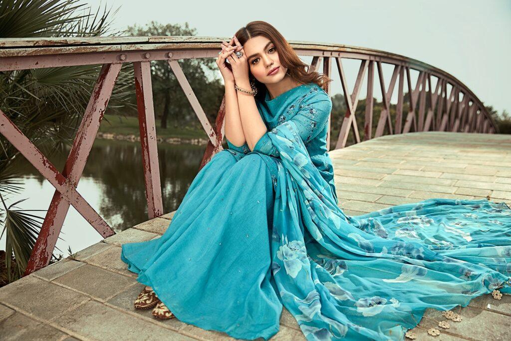 Nishat Linen winter collection Blue Swiss & Silk Embroidered Luxury Ready To Stitch 3 piece dress