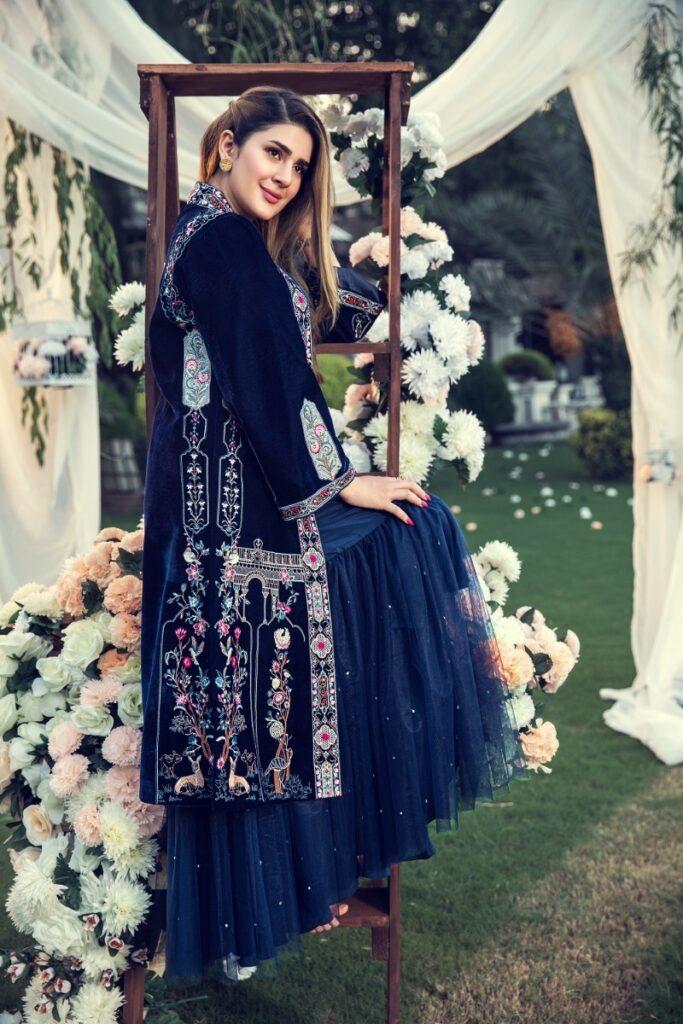 Nishat Linen Winter collection blueFormal Stitched Embroidered Velvet Jacket