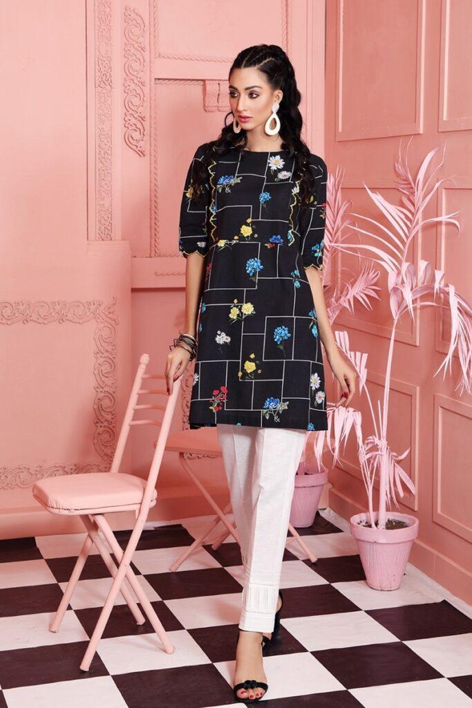 Nishat Linen Black Digital Printed Embroidered Stitched Khaddar Shirt with Mask
