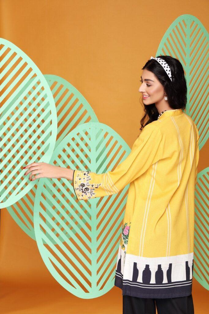Nishat Linen Ready to wear Digital Printed Embroidered Stitched Cotton Karandi Shirt