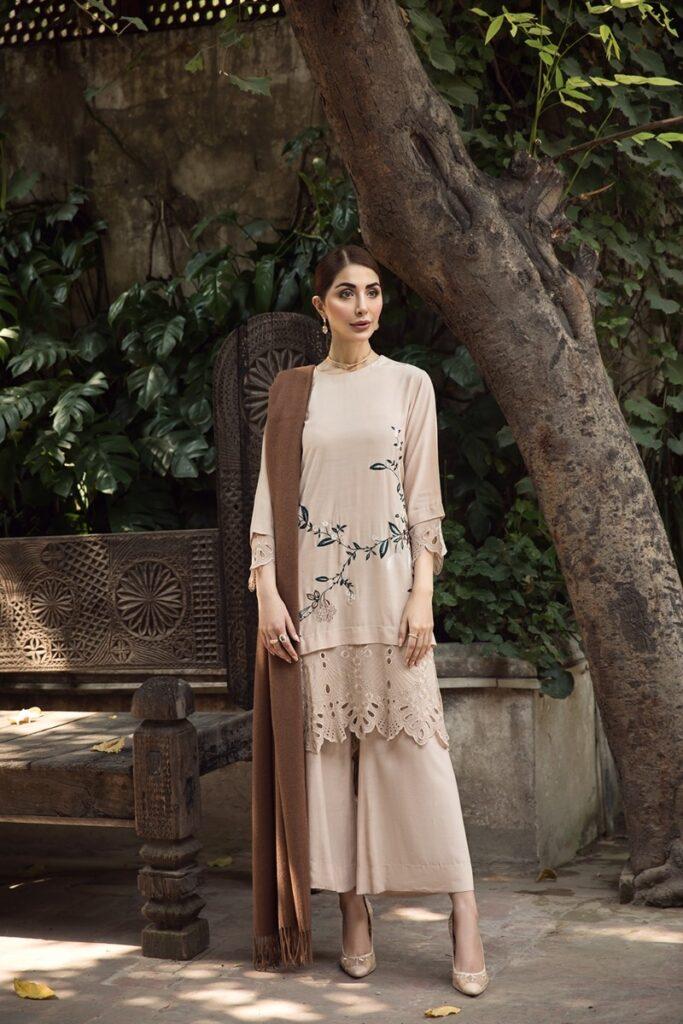 Nishat Linen Winter Collection Beige Embroidered Stitched Formal Riyan Silk Shirt, Trouser & Shawl