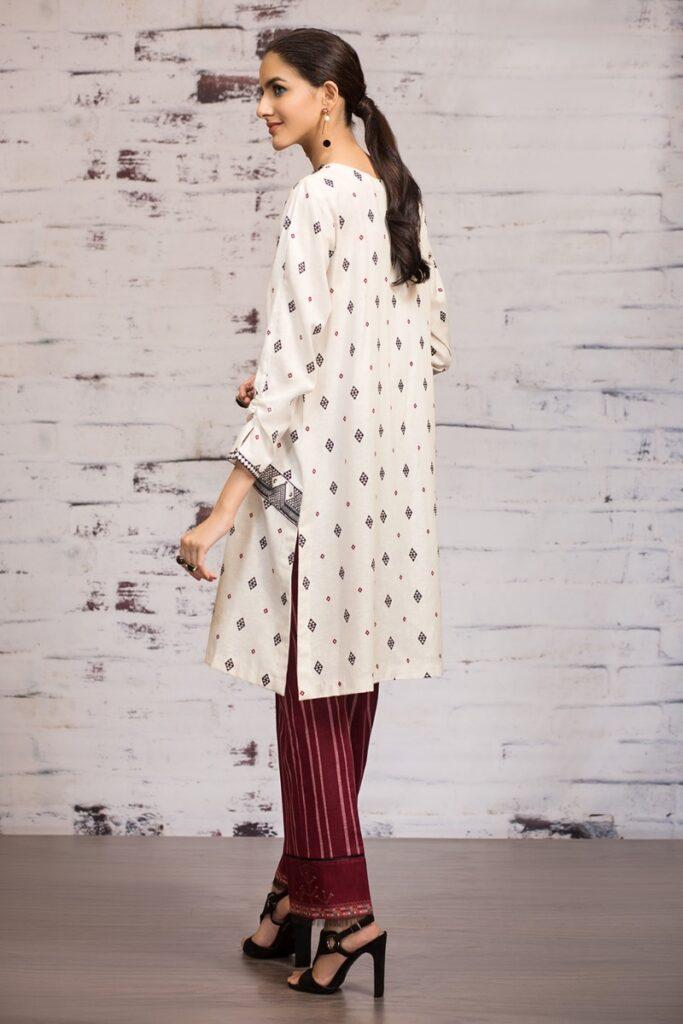 Red & white color Karandi Printed Dress Unstitched winter