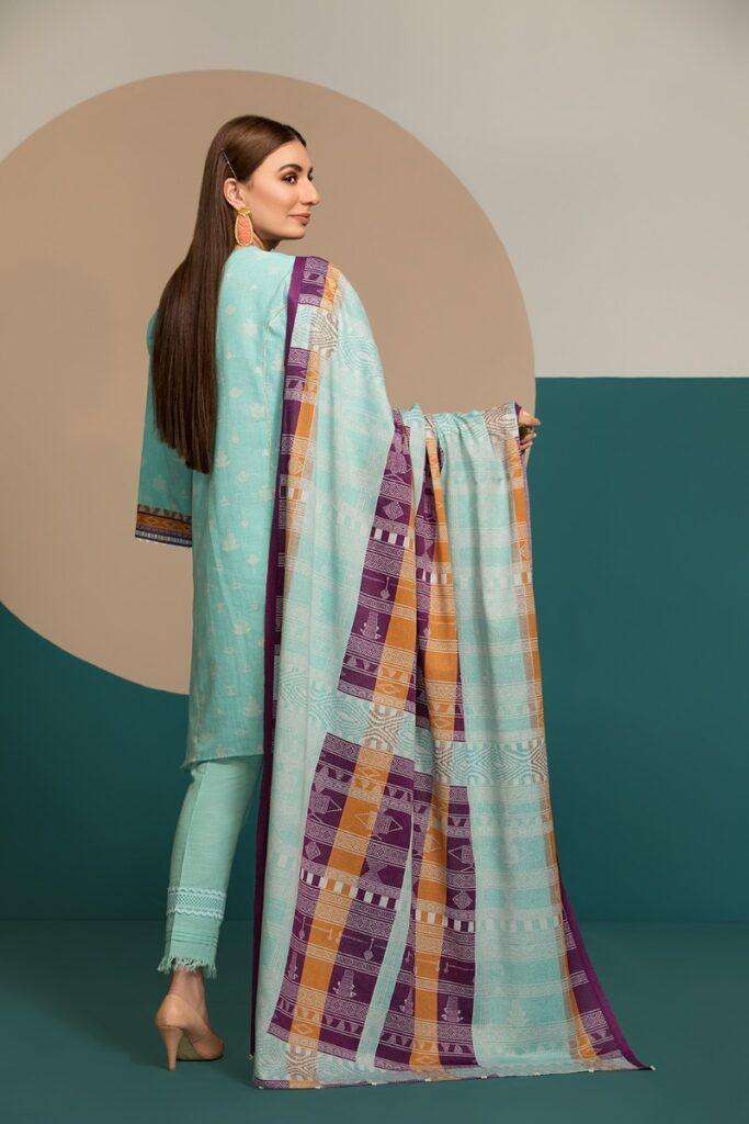 two piece khaddar Printed Dress with karandi Dupatta unstitched winter collection