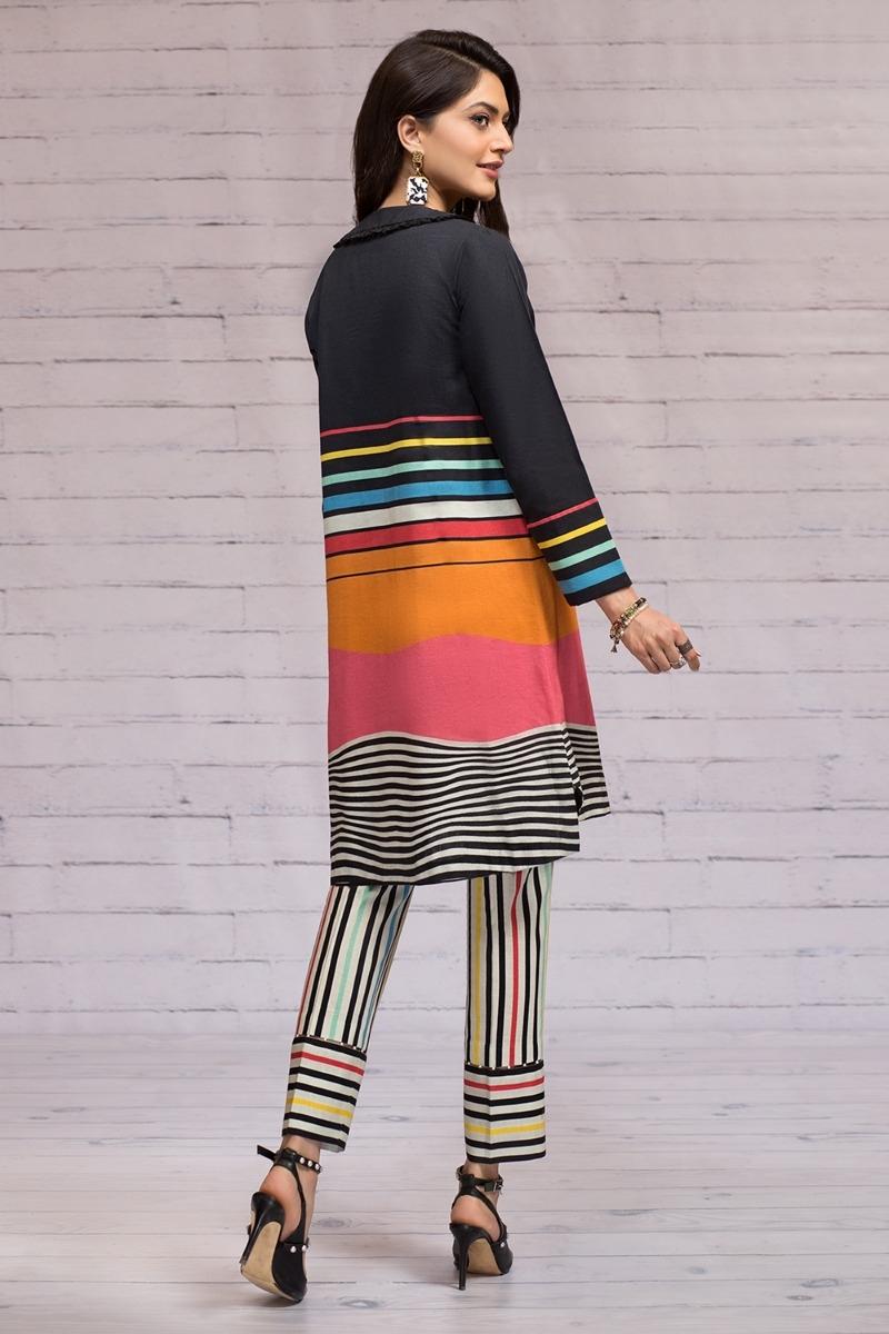Nishat unstitched winter collection black color khaddar suit