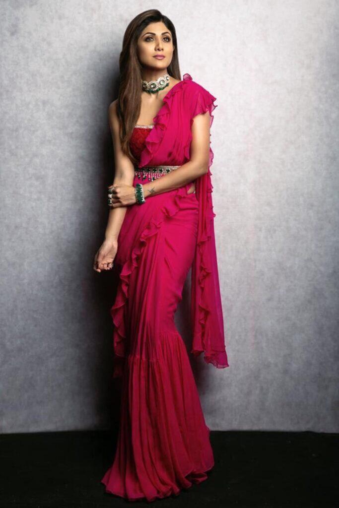 ridhi mehra Ruffle Pink Saree with Blouse & Belt