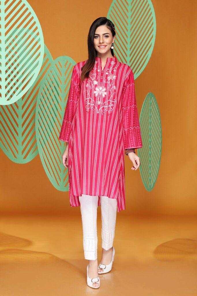 Nishta Linen Ready to wear Pinkembroidered Stitched Karandi Shirt with Mask