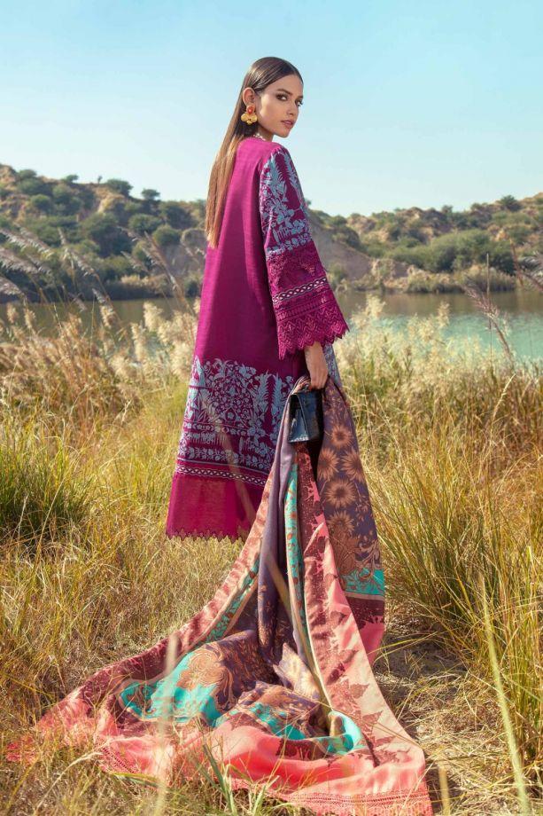 Sana Safinaz shawl winter dress purple color Back-side