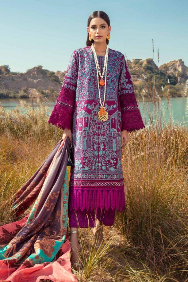 Sana Safinaz shawl winter dress purple color 2021
