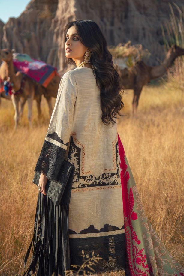 Sana safinaz shawl dress Beige/black color winter dress back-side