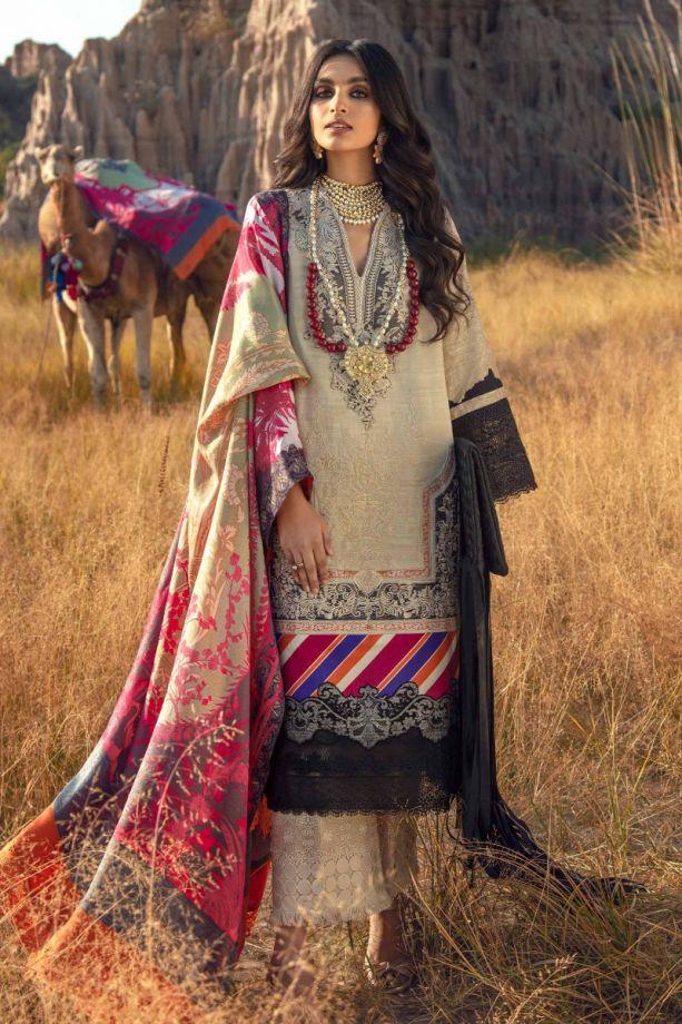 Sana safinaz shawl dress Beige/black color winter dress 2021