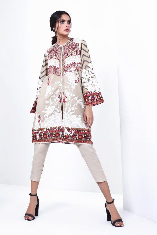 Sana Safinaz muzlin winter white color dress