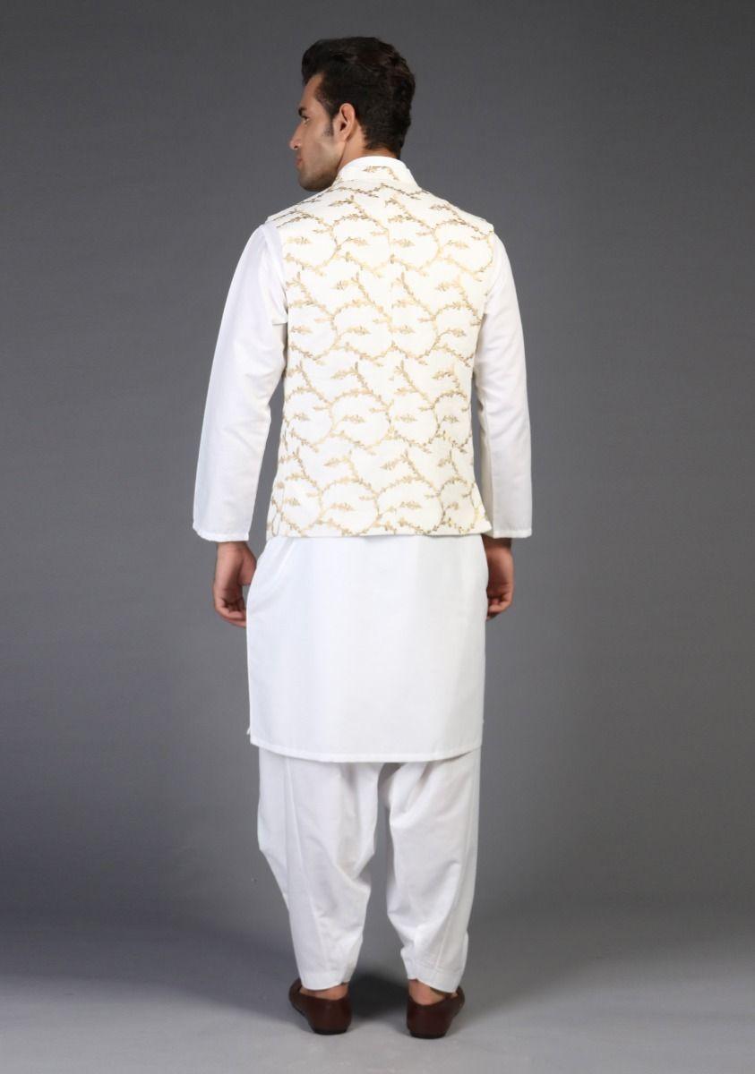 Amir Adnan Cream color waistcoat back-side