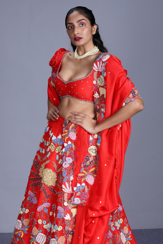 Aisha Rao red embellished lehenga 2021