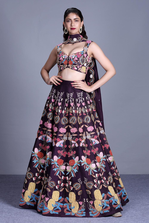 Aisha Rao Plumb embellished lehenga choli full