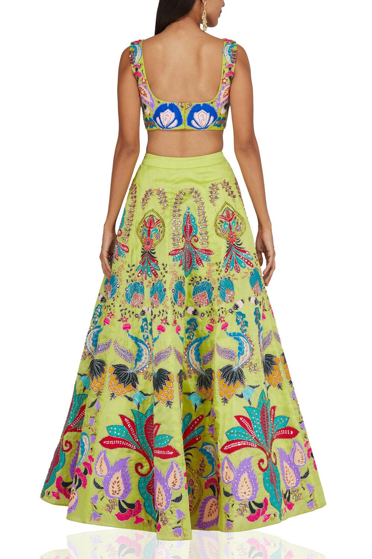 Aisha Rao lime embroidered lehenga set Back-side