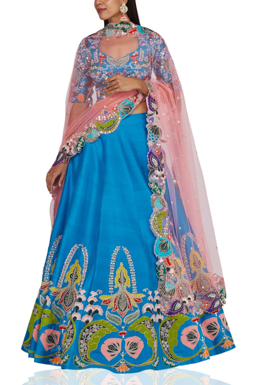 Aisha Rao Blue raw silk lehenga