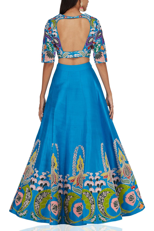 Aisha Rao Blue raw silk lehenga back-side