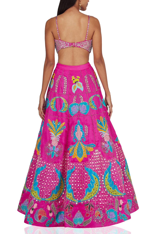 Aisha Rao Pink embroidered lehenga back-side
